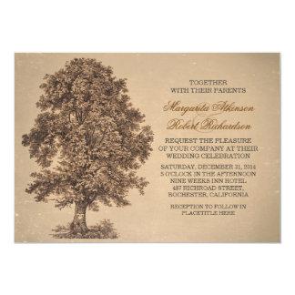 vintage rustic old oak tree wedding invitations