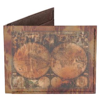 Vintage Rustic Old World Map Billfold Wallet