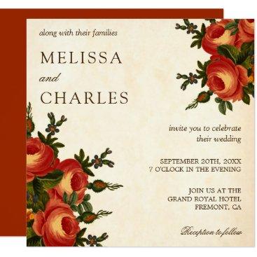 Wedding Themed Vintage Rustic Orange Flowers Square Wedding Card