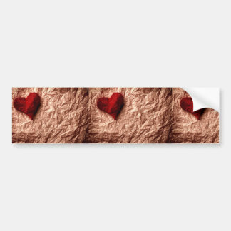 Vintage rustic paper crumbled + red textile heart bumper stickers