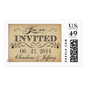 Vintage Rustic Parchment Wedding Invite Postage