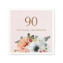 Vintage Rustic Peach Flower 90th Birthday Party Napkin