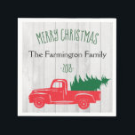 """Vintage Rustic Personalized Christmas Napkins<br><div class=""""desc"""">Vintage Rustic Personalized Paper Napkins feature a vintage red pick up truck with a Christmas tree in the back. Rustic wood background,  customize with your family or business name. Part of a collection.</div>"""