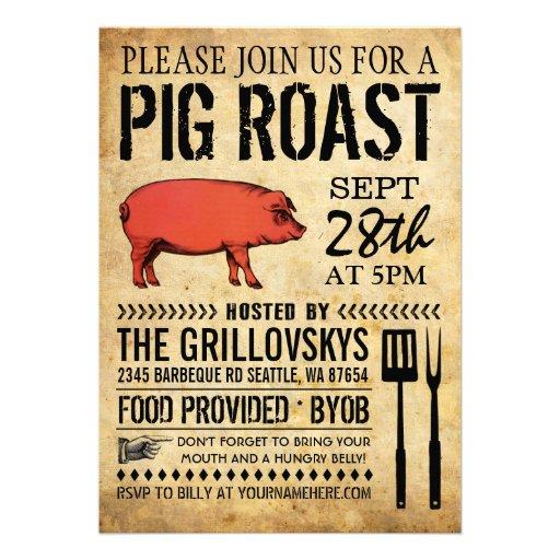 vintage rustic pig roast invitation ii 5 x 7 invitation card zazzle. Black Bedroom Furniture Sets. Home Design Ideas