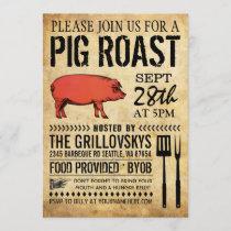 Vintage Rustic Pig Roast Invitation II