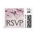 Vintage Rustic Pink Cherry Blossom RSVP Postage