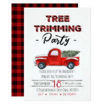 Vintage Rustic Plaid Christmas Party Invitation