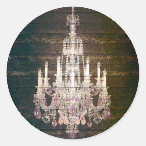 vintage rustic purple chandelier wedding thankyou round sticker