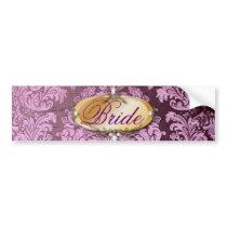 vintage rustic purple damask wedding bumper sticker