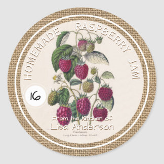 Vintage Rustic Raspberry Jam custom Sticker Label