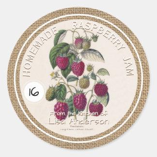 Vintage Rustic Raspberry Jam custom Sticker Label