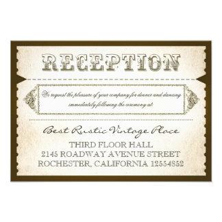 vintage rustic reception cards - tickets