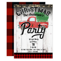 Vintage Rustic Red Truck Red Plaid Christmas Party Invitation