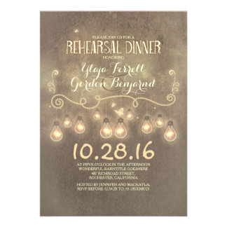 Vintage rustic rehearsal dinner invite with lights