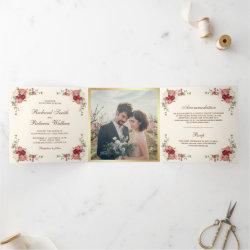 Vintage Rustic Romantic Floral Photo Wedding Tri-Fold Invitation