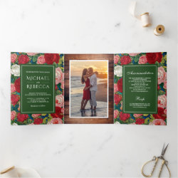 Vintage Rustic Romantic Red Roses Photo Wedding Tri-Fold Invitation