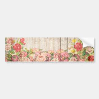 Vintage Rustic Romantic Roses Wood Bumper Sticker