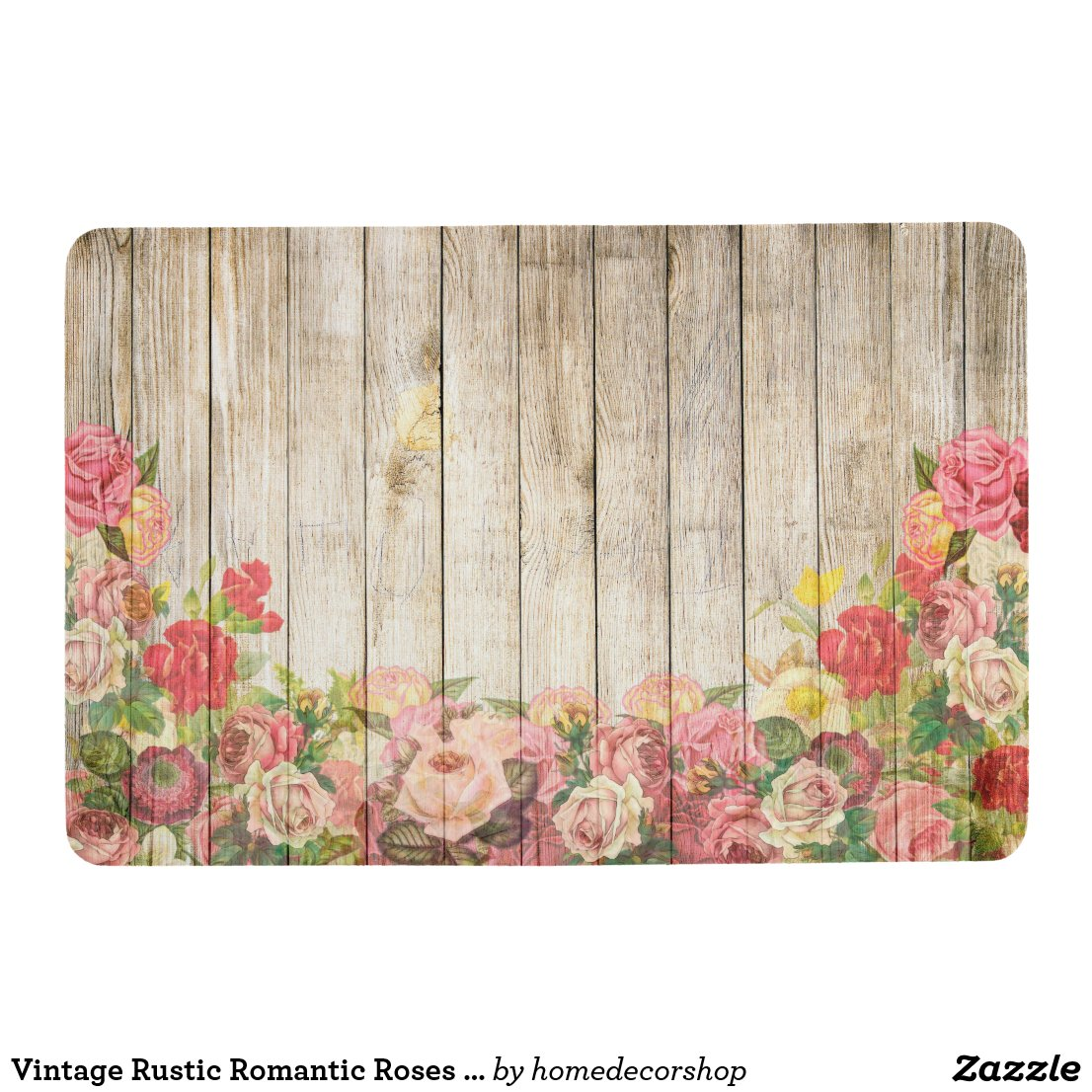 Vintage Rustic Romantic Roses Wood Floor Mat