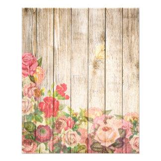 Vintage Rustic Romantic Roses Wood Flyer