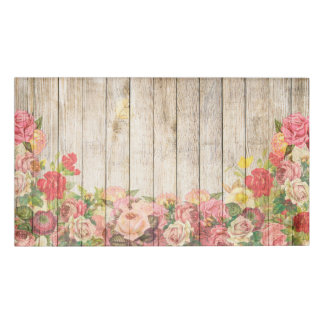 Vintage Rustic Romantic Roses Wood Name Tag