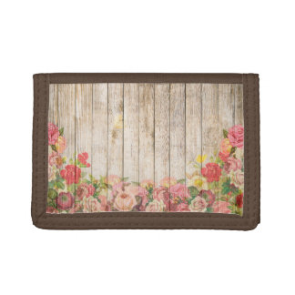 Vintage Rustic Romantic Roses Wood Trifold Wallet