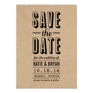 Vintage Rustic Save the Date Card | Kraft Paper