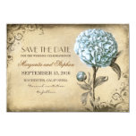 vintage rustic save the date card with blue peony invites