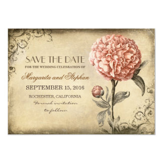 vintage rustic save the date card with pink peony