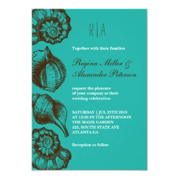 Beach Themed Vintage Rustic Seashell Beach Wedding Invitation
