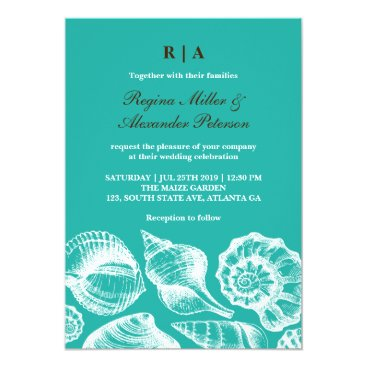 Beach Themed Vintage Rustic Seashells Beach Wedding Invitation