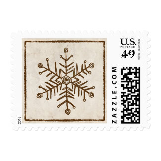 Vintage Rustic Snowflake Postage