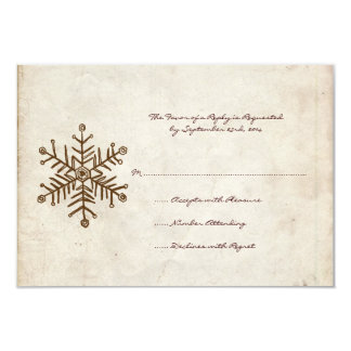 Vintage Rustic Snowflake Wedding RSVP card