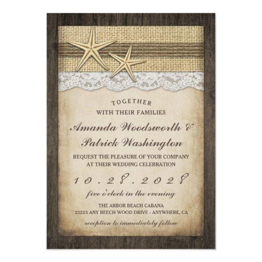 Vintage Beach Wedding Invitations: Vintage Rustic Starfish Beach Wedding Invitations