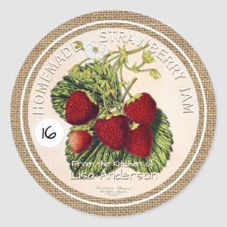 Vintage Rustic Strawberry Jam custom Sticker Label