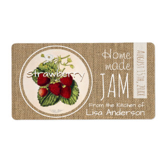 Vintage Rustic Strawberry Jam personalized H Label