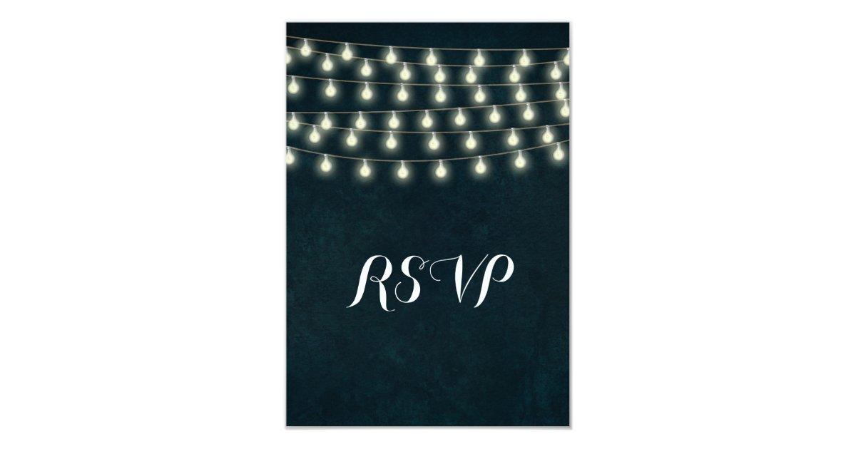 Vintage Rustic String Lights Navy Blue Wedding Card Zazzle