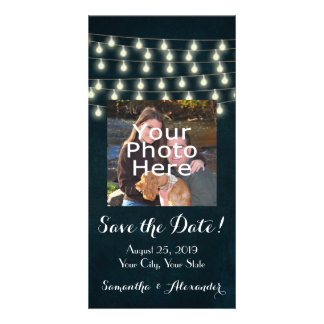 Vintage Rustic String Lights Save the Date Card