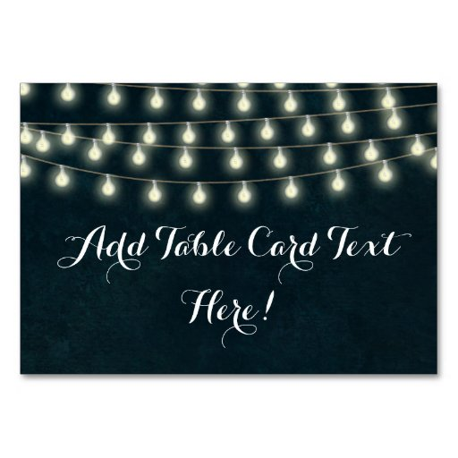 Vintage Rustic String Lights Wedding Name Place Card Zazzle