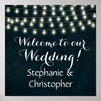 Vintage Rustic String Lights Wedding Welcome Sign Poster