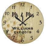 Vintage Rustic Summer Floral Wood Large Clock