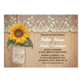 "vintage rustic sunflower mason jar wedding 5"" x 7"" invitation card"