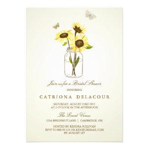 Vintage Rustic Sunflowers Bridal Shower Invitation