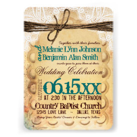 Vintage Rustic Teal Typography Wedding Invitations Personalized Invitation