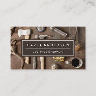 vintage rustic tools carpenter handyman woodworker business card - Rustic Business Cards