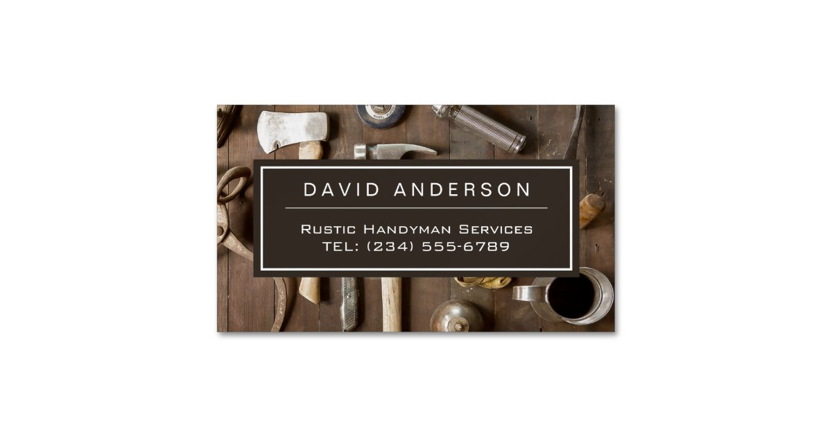 Vintage rustic tools carpenter handyman woodworker business card vintage rustic tools carpenter handyman woodworker business card magnet zazzle wajeb Gallery