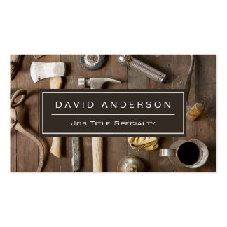 Vintage Rustic Tools Carpenter Handyman Woodworker Double-Sided Standard Business Cards (Pack Of 100)