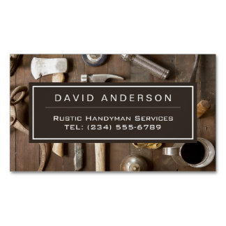 Vintage Rustic Tools Carpenter Handyman Woodworker Magnetic Business Cards (Pack Of 25)