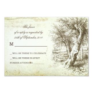 vintage rustic tree old paper wedding RSVP cards
