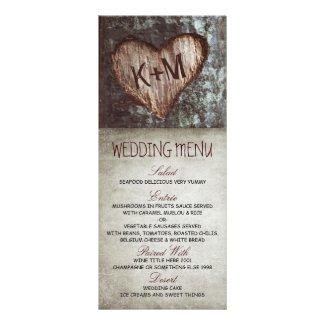 Vintage rustic tree wedding menu cards