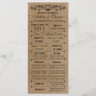 Vintage Rustic Typography Style Wedding Programs